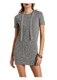 Ribbed Hooded Shift Dress