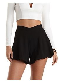 Textured Knit High-Waisted Shorts