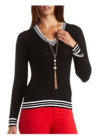 Ribbed V-Neck Varsity Sweater