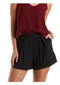 Pleated High-Waisted Shorts