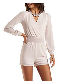 Glitter Long Sleeve Wrap Romper
