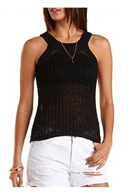 Open Knit Sweater Tank Top