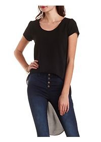 Mixed Texture High-Low Tee