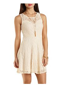 Lace Skater Dress with Sweetheart Neckline
