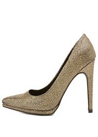 Metallic Textured Pointed Toe Pumps