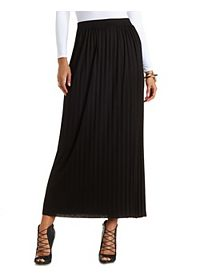Pleated Jersey Knit Maxi Skirt