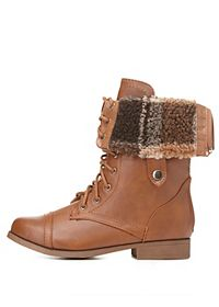 Plaid Sherpa-Lined Fold-Over Combat Boots