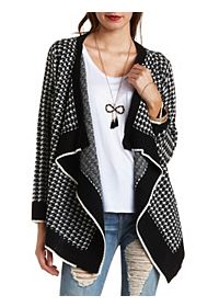 Houndstooth Cascade Cardigan Sweater