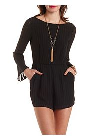 Sheer-Striped Long Sleeve Romper