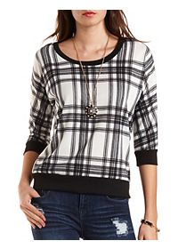 Plaid Three-Quarter Sleeve Pullover