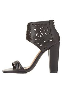 Bamboo Laser Cut-Out Ankle Cuff Heels