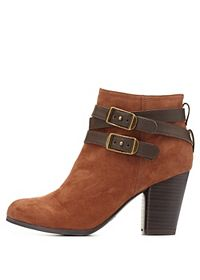 Qupid Belted Chunky Heel Booties