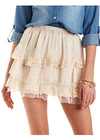 Tiered Tulle & Lace Skater Skirt