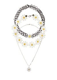 Daisy Chain & Tattoo Choker Necklaces - 3 Pack