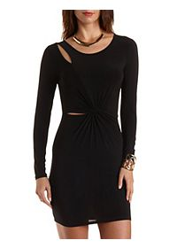 Cut-Out Knotted Long Sleeve Dress