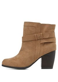 Qupid Belted & Perforated Booties