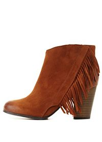 Qupid Fringe Block Heel Booties