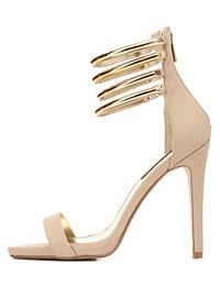 Dollhouse Gold-Plated Stacked Ankle Strap Heels