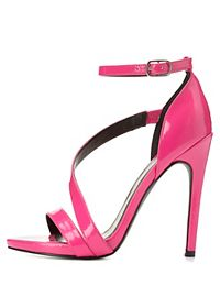 Qupid Asymmetric Strap Stiletto Sandals