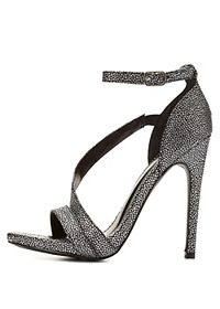 Qupid Metallic Strappy Stiletto Sandals