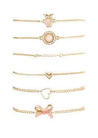 Owl, Hearts & Bow Bracelets - 6 Pack