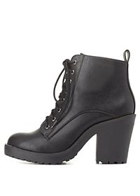 Lace-Up Chunky Heel Work Boots