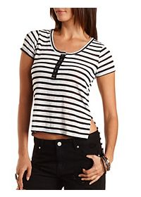 Striped High-Low Henley Tee