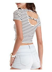 Striped Twisted-Back Crop Top