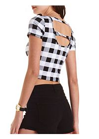 Plaid Twisted-Back Crop Top