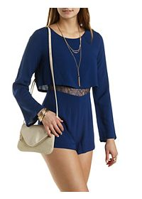 Lace-Waist Layered Long Sleeve Romper