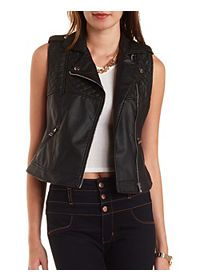 Quilted Faux Leather Moto Vest