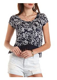 Crochet-Trim Cropped Swing Tee