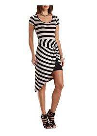 Striped & Knotted Asymmetrical Bodycon Dress