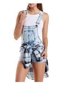 Acid Wash Denim Shortalls