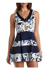 Floral Color Block Skater Dress