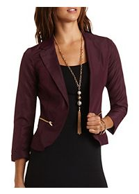 Zipper Trim Open Front Blazer