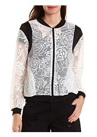 Floral Lace Bomber Jacket