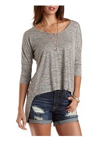 Slub Knit High-Low Flyaway Tee