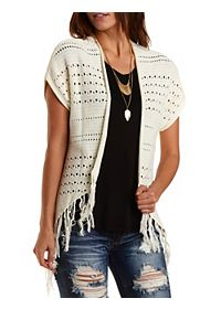 Fringe-Trim Short Sleeve Pointelle Cardigan