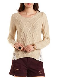 Lace-Trim Cable Knit Sweater
