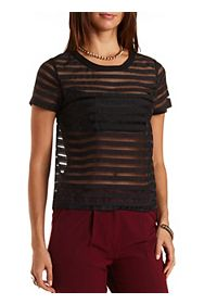 Sheer-Striped Organza Top