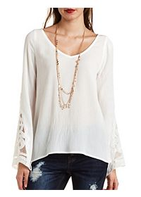 Embroidered Bell Sleeve Tunic Top