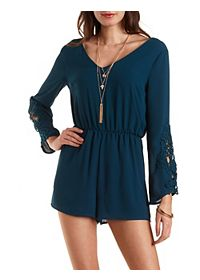 Chiffon Romper with Crocheted Sleeves