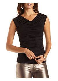 Ruched & Draped Sleeveless Tee