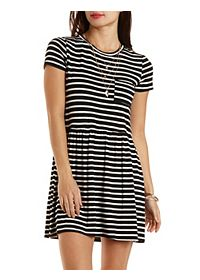 Striped T-Shirt Dress with Pocket