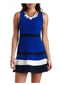 Sleeveless Color Block Skater Dress