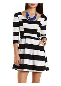 Striped Skater Dress with Pockets