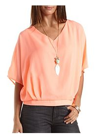 Caged Back Dolman Sleeve Top