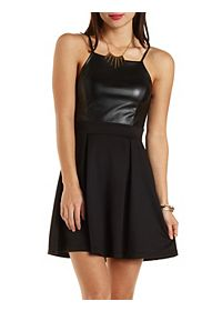 Faux Leather-Topped Skater Dress