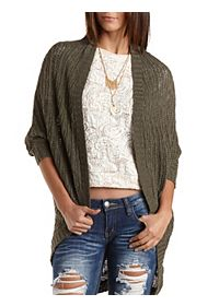 Slub Knit Cocoon Cardigan Sweater